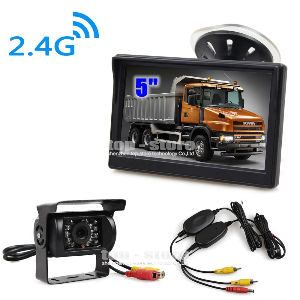Wireless Waterproof CCD Reverse Backup Car Truck Camera IR Night Vision + 5 inch LCD Display Rear View Car Monitor(China (Mainland))