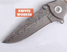 Browning Damascus Knives Folding Blade Knife Survival Camping Utility Tactical Knife Outdoor Knives Wood Handle 7cr17Mov