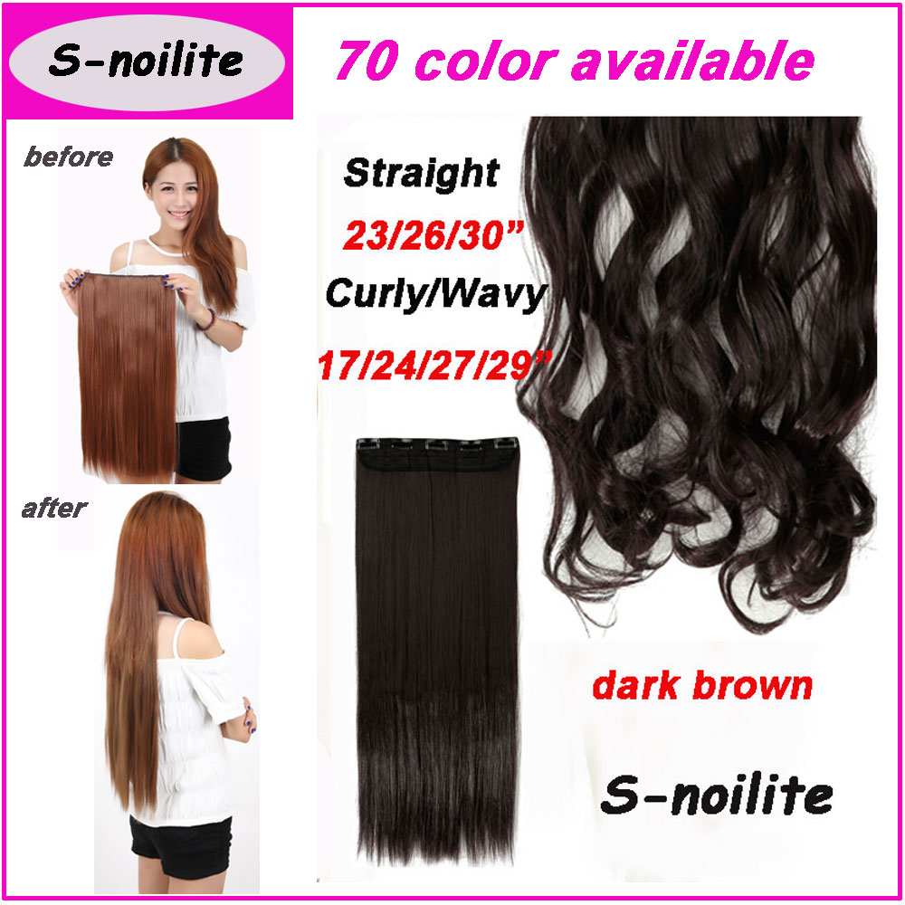 S-noilite hair #2 Dark Brown 100% Natural hair Extension 3/4 Full Head Clip ins in Hair Extensions 43-76CM(China (Mainland))
