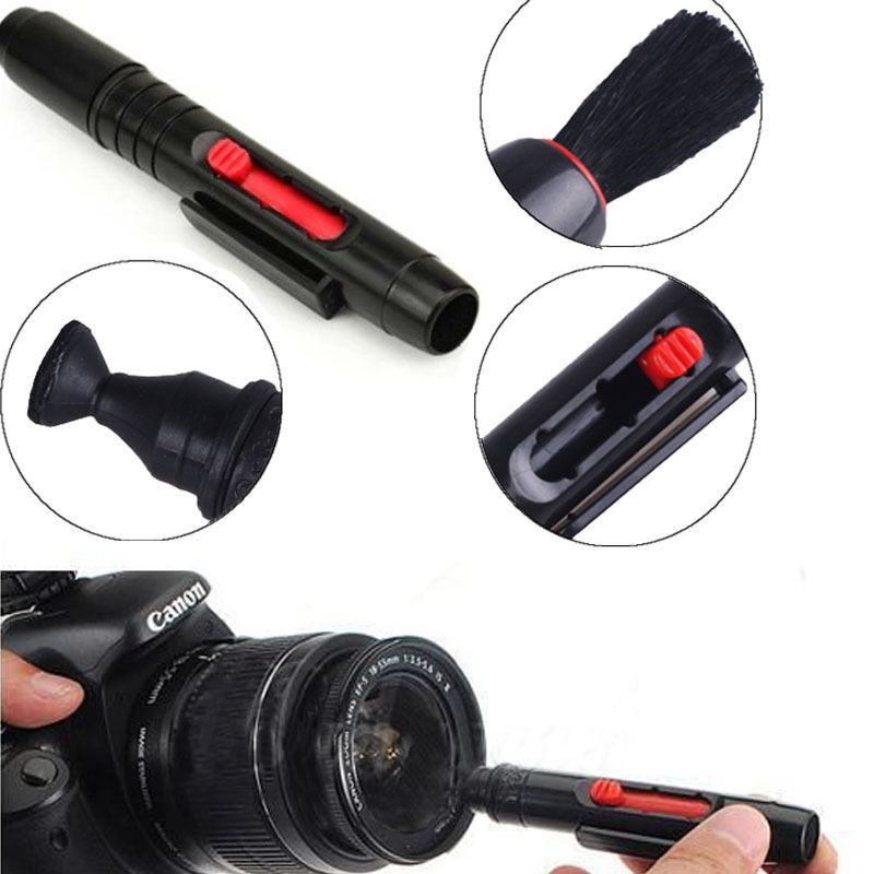1 Piece Black Lens Clean Pen 3 in 1 Kit Dust Cleaner For DSLR VCR Camera(China (Mainland))