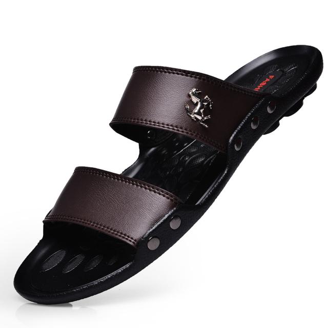Свободного покроя известный новое 2015 мужчин сандалии летом флип-флоп пляж мужской обуви кожи Sandalias Zapatos хомбре
