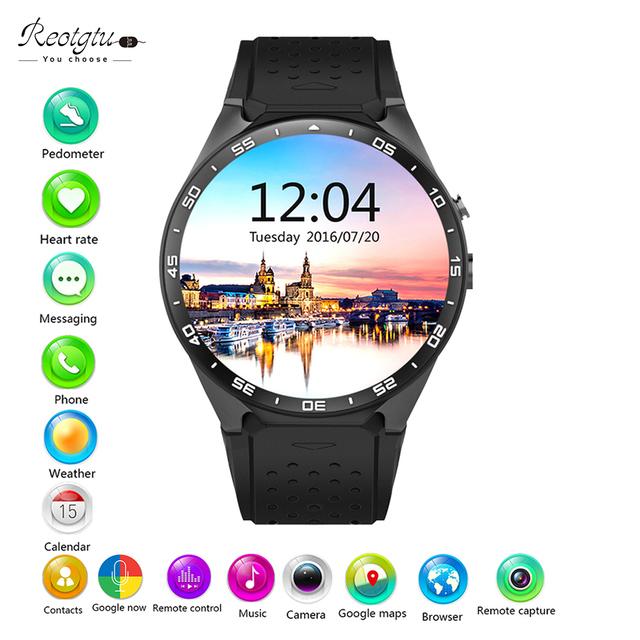 REOTGTU Kw88 android 5.1 OS Smart watch электроники android 1.39 дюймов mtk6580 SmartWatch телефон поддержки 3 Г wi-fi nano SIM WCDMA