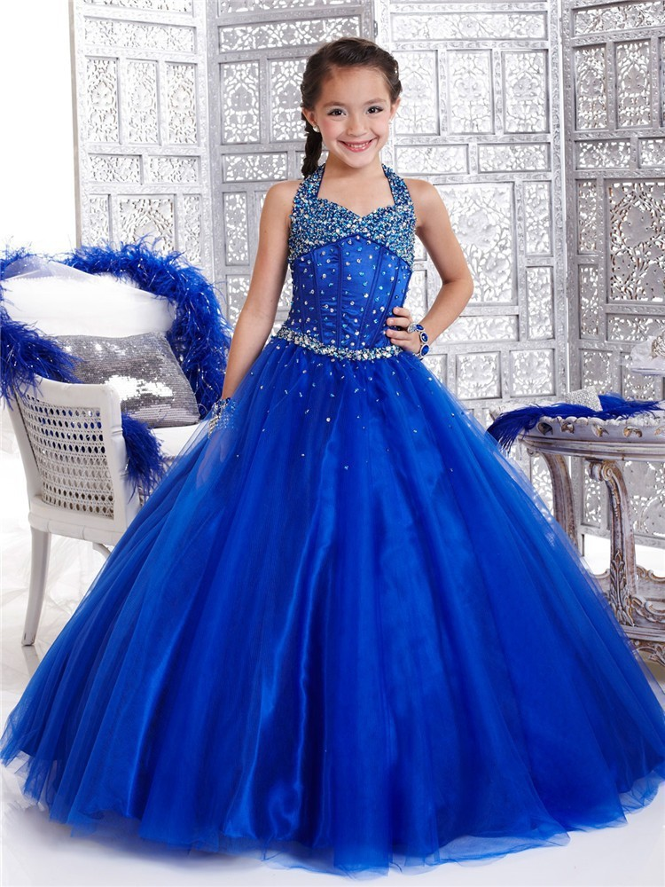2015 Blue Organza Girls Pageant Dresses Prom Dress Children With Halter Girl Of 10 To 12 Years Girls Long Formal Dresses Custom(China (Mainland))