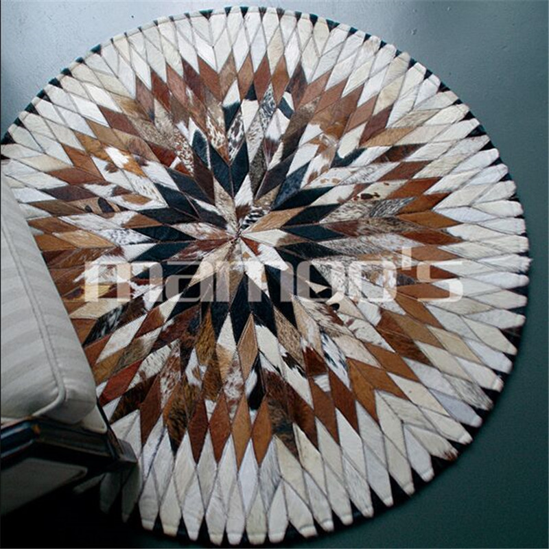 Import cow leather carpet diameter 100cm 150cm Round Floor Carpets For Living Room Bathroom Circle Mat Rug round ground mat(China (Mainland))