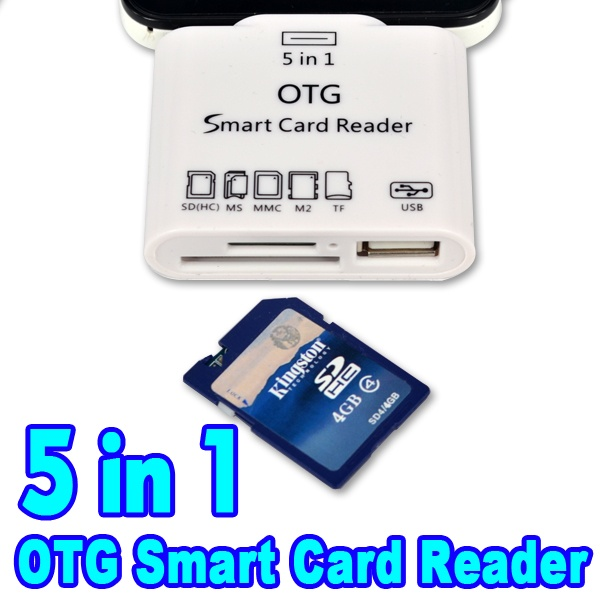 2015 Hot 5 In 1 Micro USB OTG Smart Card Reader SD TF Memory Card Adapter for Samsung S6 Note4 for Sony Xperia Z3 LG G4 HTC M9(China (Mainland))