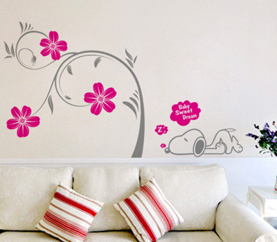 Wall stickers big tree cherry tree snuby cartoon child real swaying(China (Mainland))