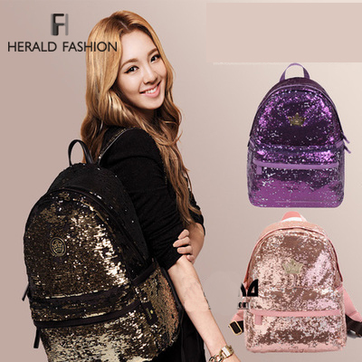New 2014 Casual Women's Colorful Canvas Backpacks Girl Lady Student School Travel bags Mochila Women Bag paillette bling bag(China (Mainland))