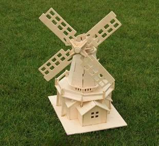 holzmodell windm hle 3d p dagogische puzzle spielzeug diy skala miniatur. Black Bedroom Furniture Sets. Home Design Ideas