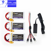 Lipo battery 7.4v 1500mah 30C max 35C Xpower 3pcs and USB charger with cable XT60 / T plug for RC Quadcopter drone part
