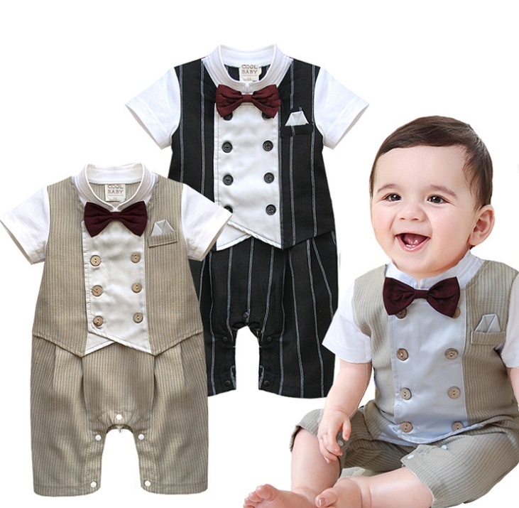 2015 new high quality Fashion Formal New Born Infant Boy Baby Polo Clothes Baby Tuxedo Suits Formal Gentleman Clothes Romper(China (Mainland))