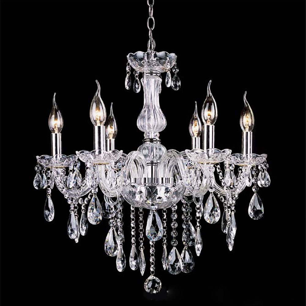 Luxe noir or clear crystal chandelier 6 arms led lustre cristal design moderne bougie e14 Decoration noir or luxe classe