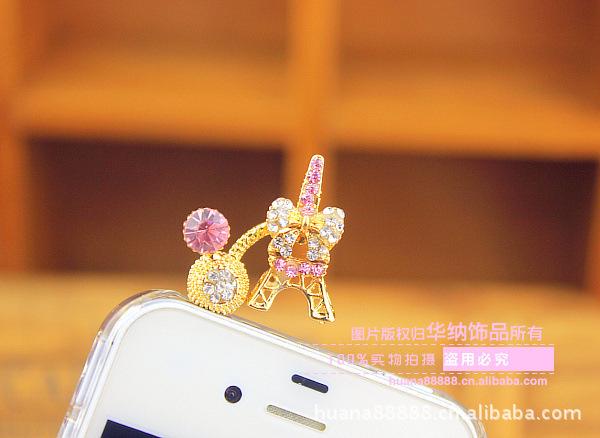 Eiffel tower diamond Fashion phone jewelry charm jack gold telephone headphones earphone Dustproof Dust Plug accessories(China (Mainland))