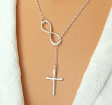 2014 fashion trade jewelry/figures 8 extreme simplicity luck cross pendant necklace for women