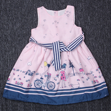 Pastoral Style Girl Dress sleeveless Kids Dress For Girls Clothes For Baby Girl Party Dress Printed Flower Fashion Kids Clothing