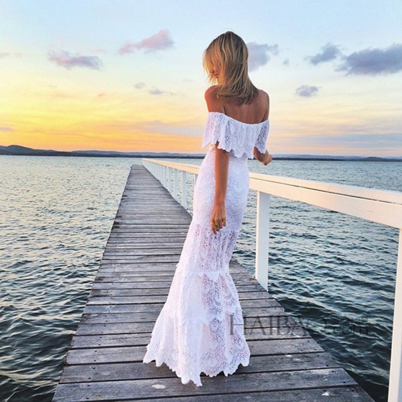 Здесь продается  Party Dresses 2015 Summer New Fashion Runway Slash Neck Off the Shoulder White Black Sexy Long Dress For women  Одежда и аксессуары