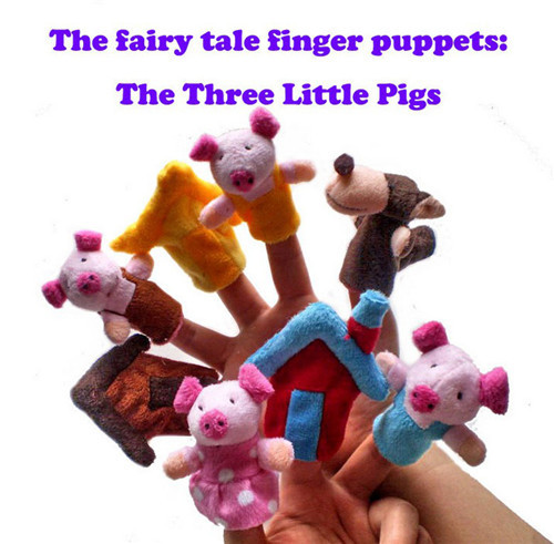 """8PCS/Set Little """"The Three Little Pigs"""" Animal Finger Puppet toy Educational Toys Storytelling Doll(China (Mainland))"""