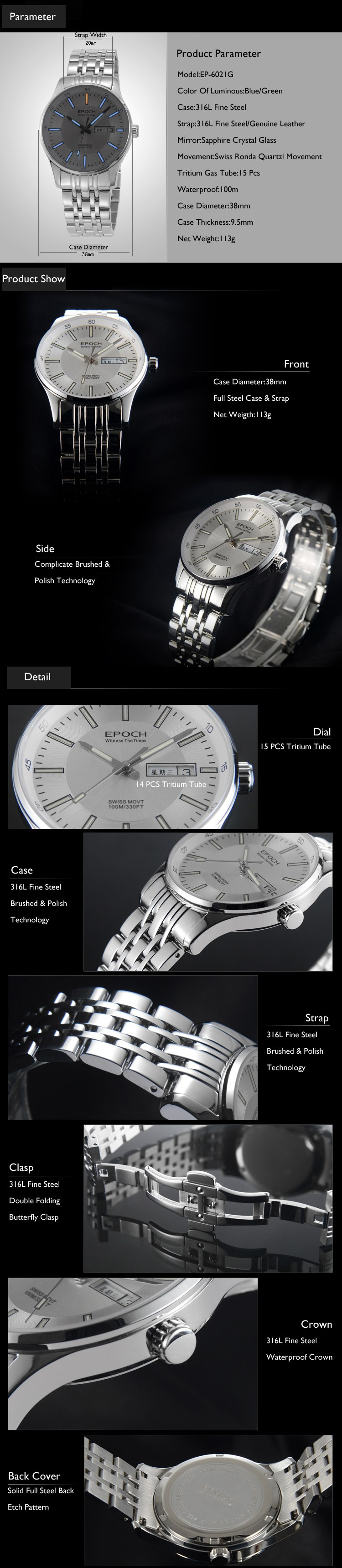 EPOCH 6021G waterproof 100m tritium gas luminous fashion business mens quartz watch