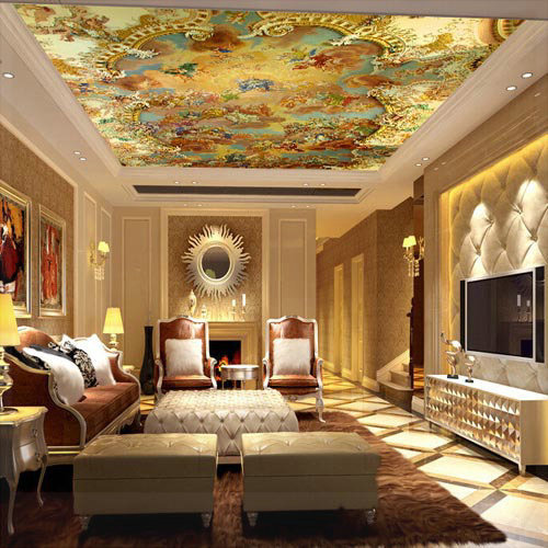 Suspended ceiling murals wallpapers large photo wallpaper for Living room 3d tiles