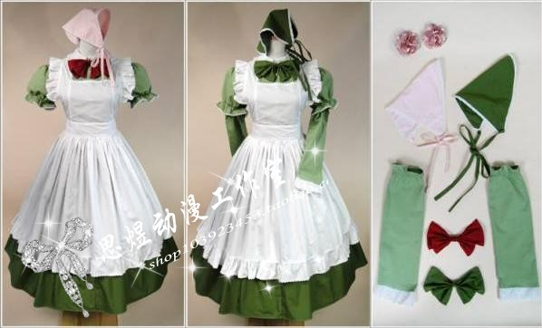 Anime APH Axis Powers Hetalia Hungary Maid Apron Cosplay Costume (one green Dress two kerchief,two bows,two sleeves,two flowers)(China (Mainland))