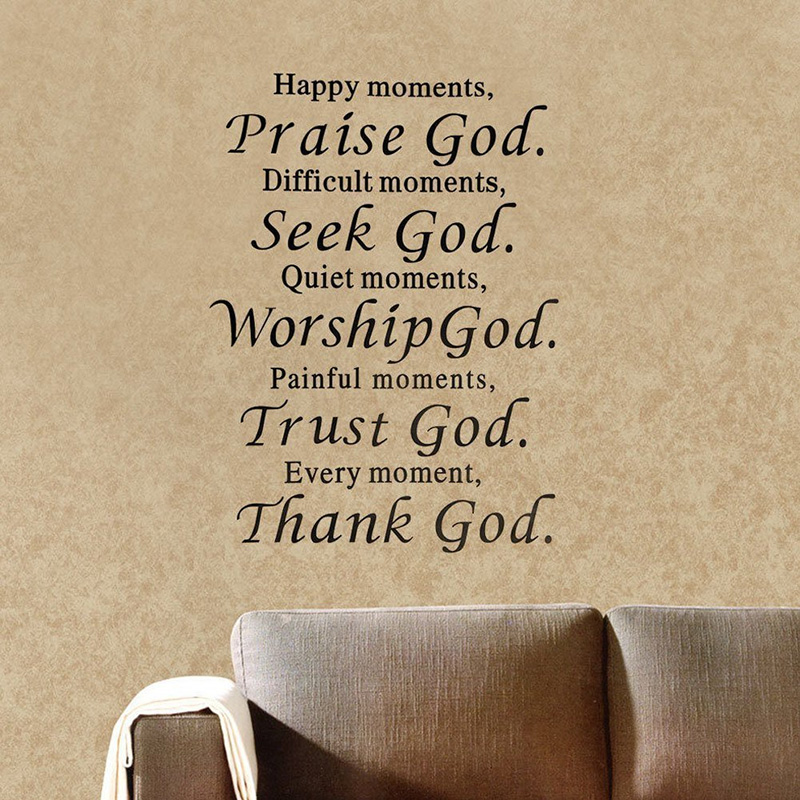 New Bible Wall Sticker Praise God Trust Thank God Wall Decals Quote Sticker Room Decor Removable Vinyl #83806(China (Mainland))