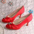Custom Logo Elegant Wedding Shoes Red Formal Shoes Medium Heel Free Shipping
