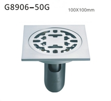 Free shipping Bathroom accessories deodorant Brass square Chrome plated floor drain 100mm*100mm G8906-50G
