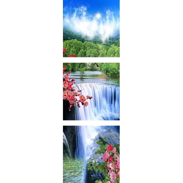 Diy Diamond Painting Home Decor Direct Selling Water Falls 3 Panel 5d Wall Sticker For Living