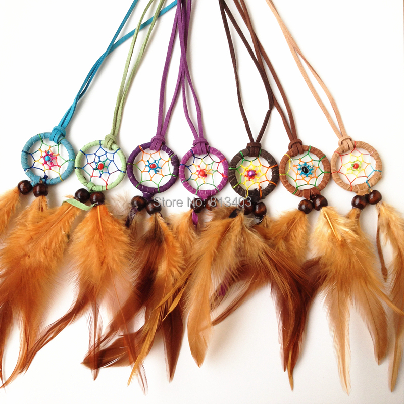 New Arrival Indian Dream Catcher Necklace Leather With Feather Dream Catcher Decor Birthday Gift Vintage Jewelry  Party Decor<br><br>Aliexpress