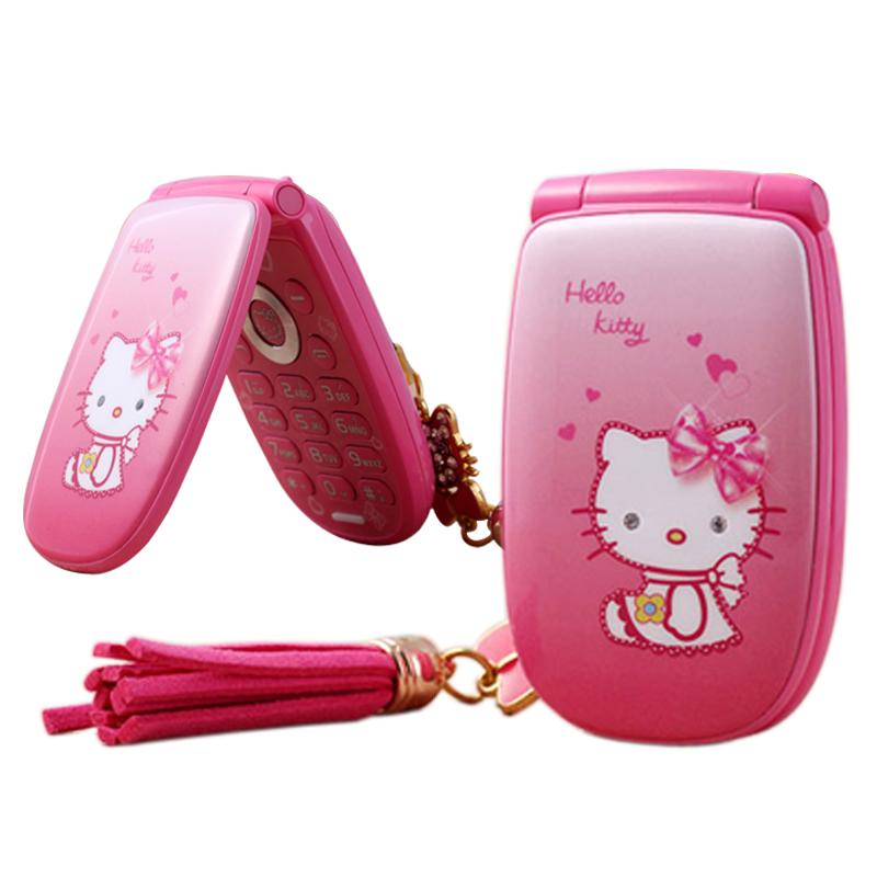 "KUH W88 Flip unlocked vibration 1.8"" pretty flashlight small woman kid girl cute hello kitty cartoon mini mobile phone P473(China (Mainland))"