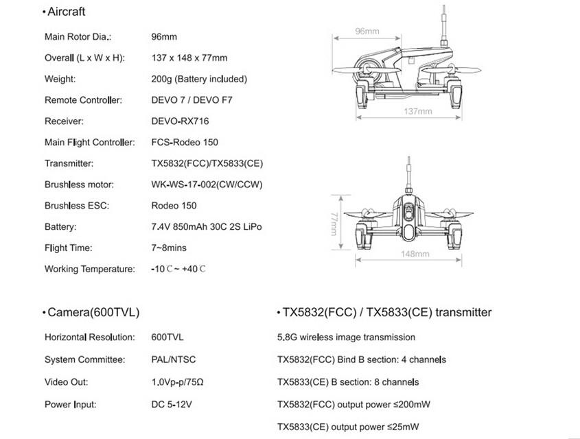 F17997/98 Original Walkera Rodeo 150 with DEVO 7 Remote Control Racing Drone with 600TVL Camera RTF BNF