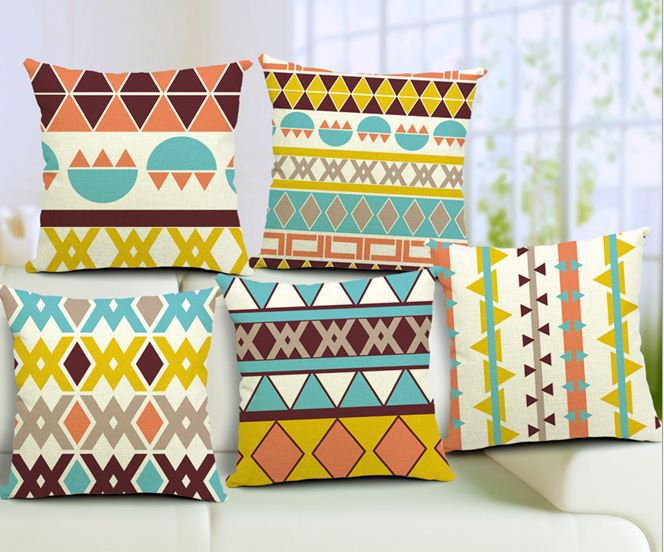 15pcs bohemian stripe cushion covers decorative throw pillows sofa pillowcases home decor vintage cotton linen wave geometry