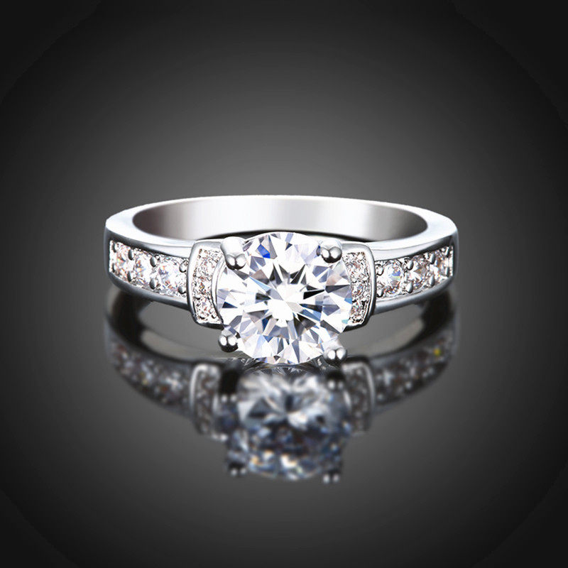 Size 5 6 7 8 9 Shiny 2 Carat Synthetic Diamond Bridal Round Cut Engagement Ri