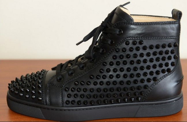 Genuine leather rivets spiked black gommini high top casual red ...