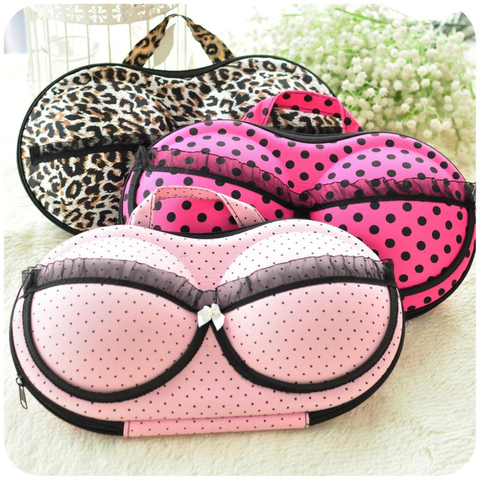 Sexy Leopard Underwear Bag Dots Panties Socks Portable Travel Bags Bra Storage Box Rose New 2015 Pink Lingerie Bras Case(China (Mainland))