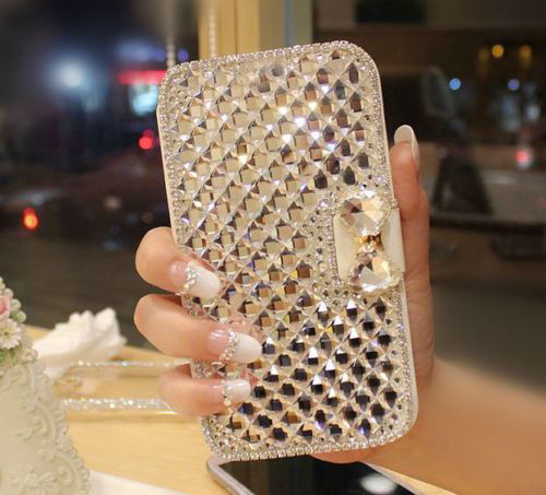 Luxury Bling Crystal Diamond Rhinestone White PU Leather Wallet Case Cover Doogee X5 Max X5 Max Pro