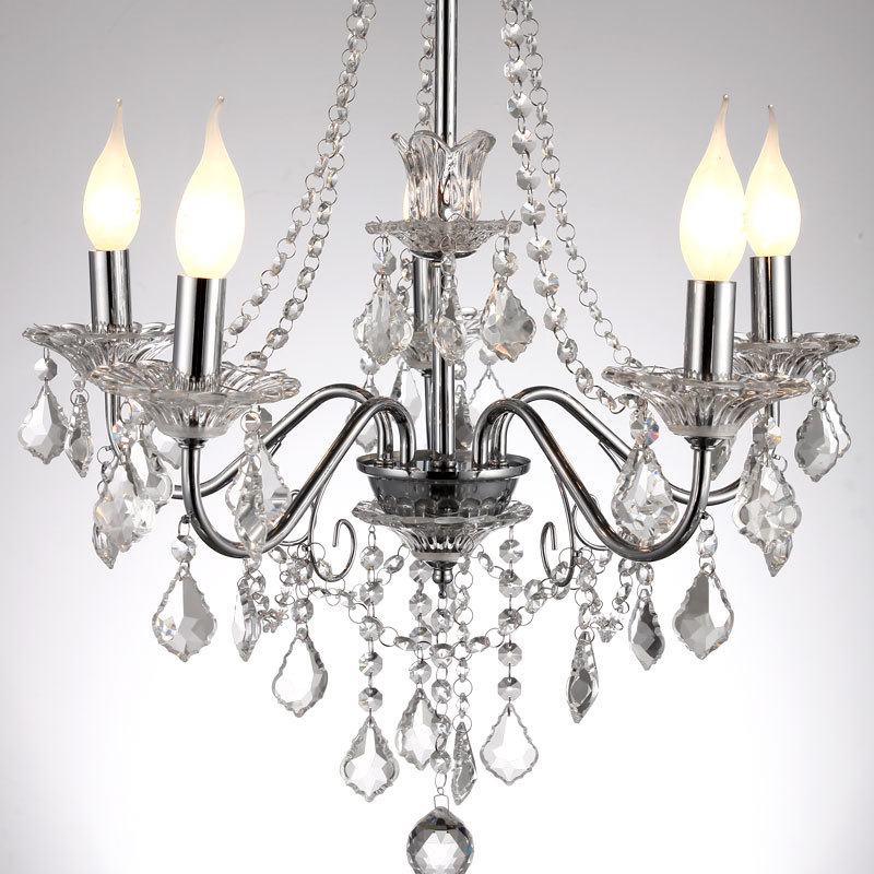 21 european modern crystal hanging polished chrome 5 lights living room chandelier luxury - Dining room crystal chandelier ...