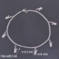 DIY 316L Stainless Steel Anklet Chain with Small Rabbit Charms Stainless Steel Ankle Bracelet Foot Jewelry