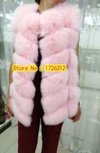 Full leather medium-long real fox fur vest waistcoat rhombus fur coat female the fox waistcoat(China (Mainland))
