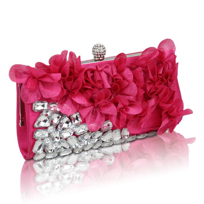Acrylic Diamond Beaded Satin Flower Bride Bags Evening Bags Handbags Petal Bags Evening Bags Wedding Pouch Purse 5 Color 152(China (Mainland))