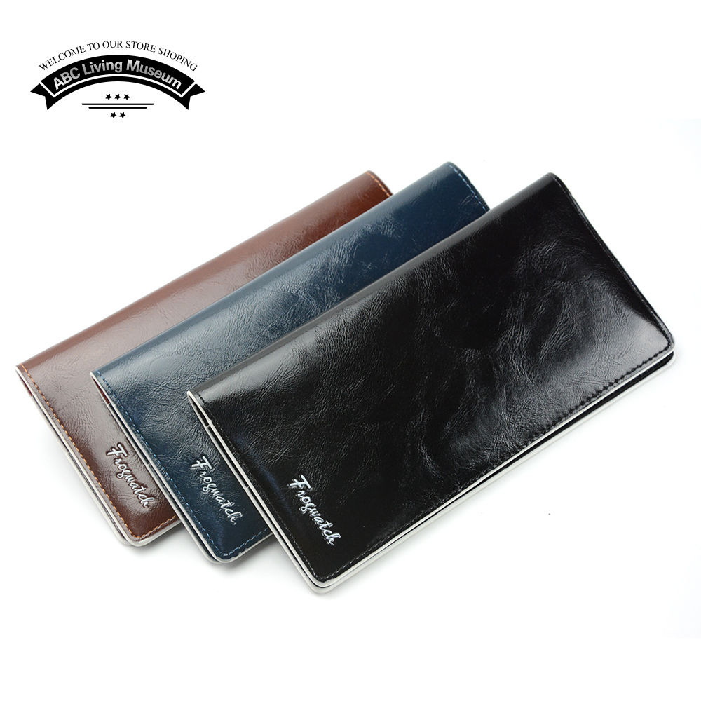 Long Wallet For Men , Men's Black Coffee Navy Genuine Leather And PU Solid Clutch Handbag Purse QB02(China (Mainland))