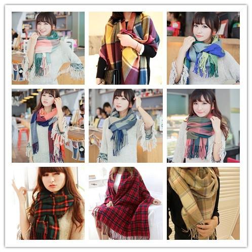 16 kinds Autumn -Summer Scarf fashion Style Multicolor Plaid Tassels Unisex 2014 JP112501 - ZhuoYue Retail & store