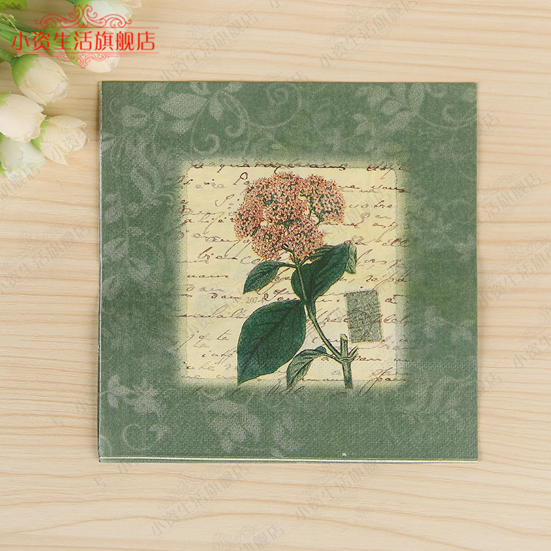 Wedding Paper Napkins Green Rose Flowers Decoupage Festive & Party Tissue Napkins Paper 33cm*33cm 20pcs/pack/lot(China (Mainland))