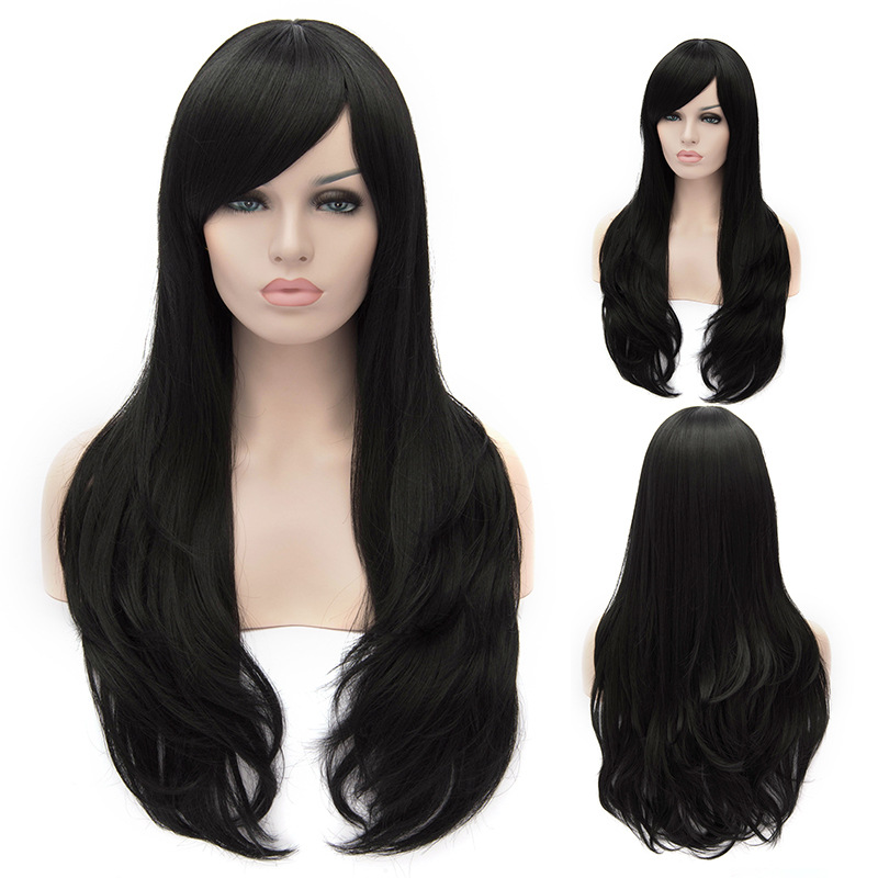 Adventure time Marceline the Vampire Queen 80CM Long Black Curly Hair Cosplay Wig