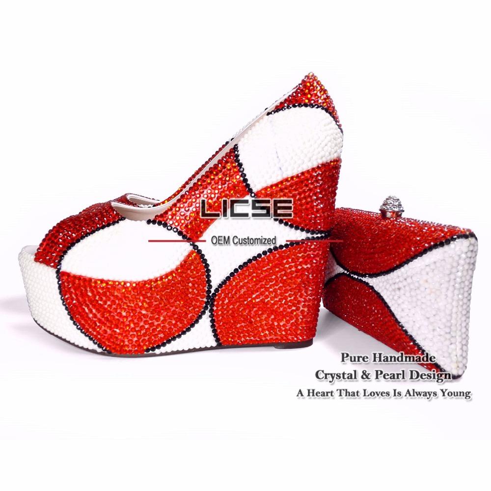 LICSE Platform Multi Colored Vintage Peep Toe 15cm Heels Pumps Wedding Shoes for Woman 2016 Italian Matching Shoe and Bag Set(China (Mainland))