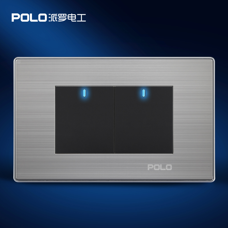 Home Automation, POLO Luxury Panel, US/AU standard, LED indicator, Wall switch, Light switch, Flat Reset switches, 2 Gang 2 Way(China (Mainland))
