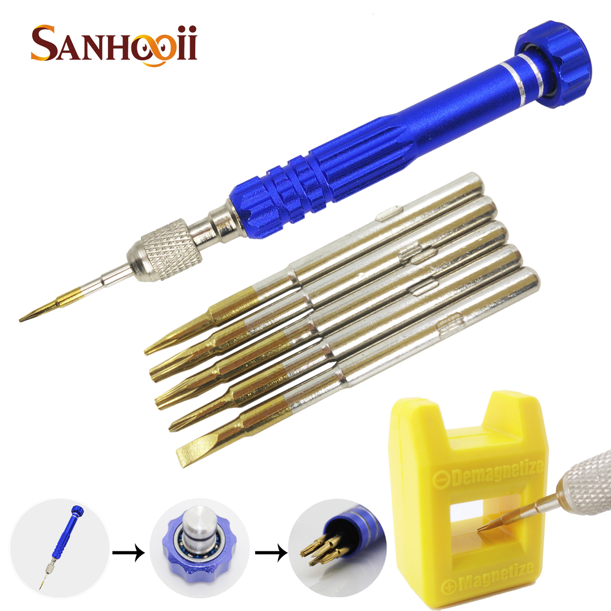 6in1 Pentalobe Repair Alloy Steel Opening Tools Screwdrivers Kit Magnetizer Demagnetizer For iPhone 4s 5 5s 6 Samsung Galaxy(China (Mainland))