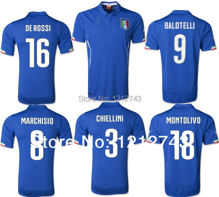 2014 italia maglia mondiali 2014 italia home calcio maglia italia camicia top tailandia di qualità su misura 9# balotelli italia jersey(China (Mainland))