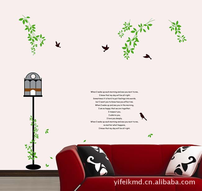 Wholesale-New Design Home Wall Sticker Removable Plants Pattern Decoration Wall Paster/Poster cage bird tree AY826(China (Mainland))