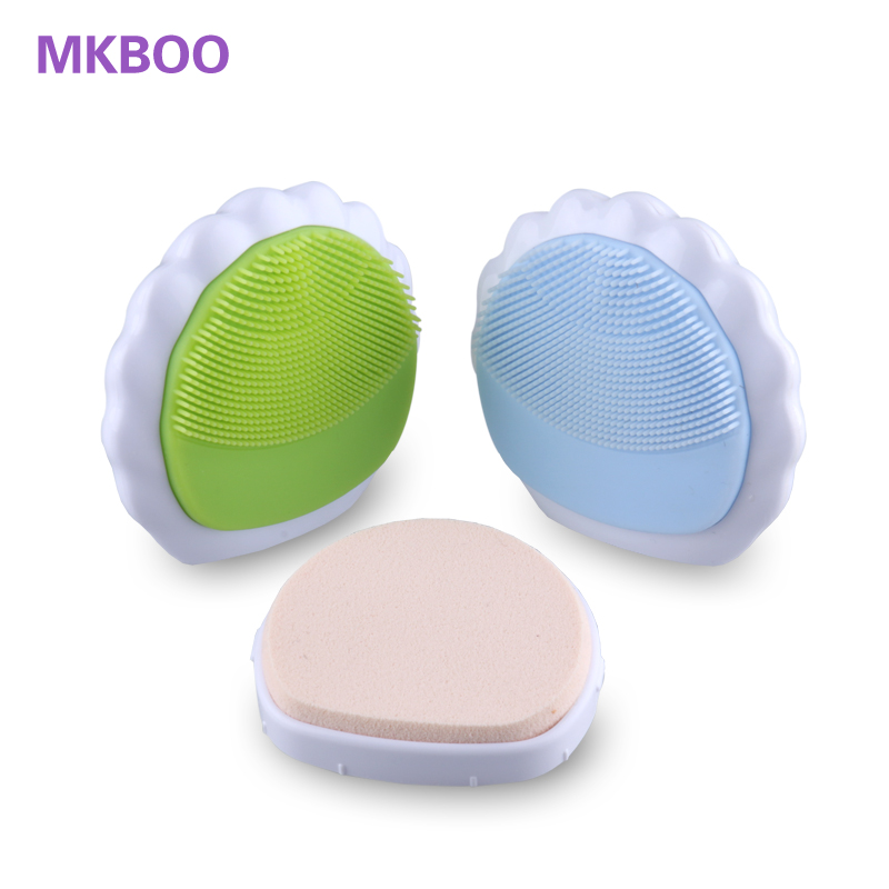 Electronic Silicone Facial Cleaner with Powder Puff Device Recharage Ultrasonic Silica Gel Face Cleaning Care for women(China (Mainland))