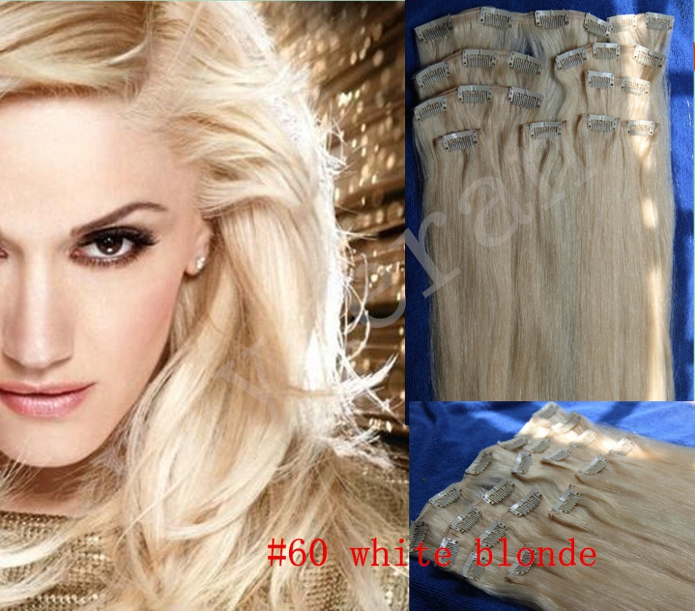 "20"" - 32"" 10pcs/set 240g DELUXE THICK full head 100% brazilian virgin human remy hair extension clip in/on #60 platinum blonde"